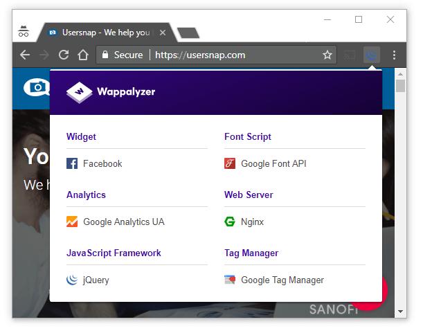 Identify web technologies - Wappalyzer