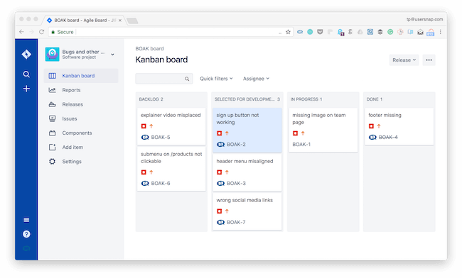 Kanban board JIRA for bug tracking