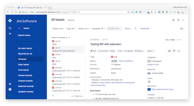 New JIRA experience for bug tracking