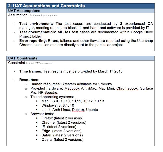 UAT example: UAT assumptions and constraints