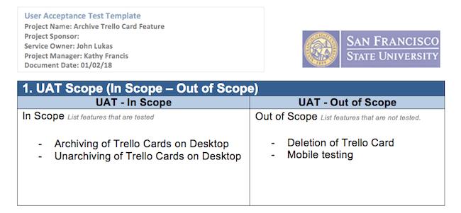 UAT test case example: defining the UAT scope
