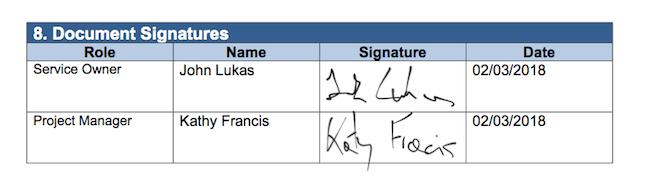 UAT example: UAT document signature