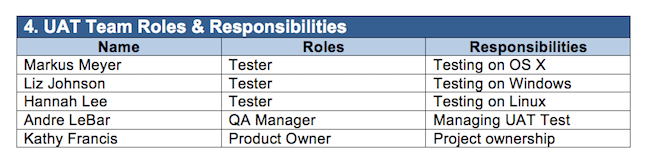 UAT test case example: defining team roles and responsibilities