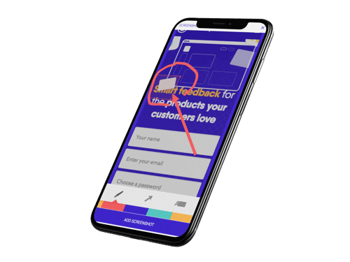 Usersnap - visual bug tracking - in action on iPhone X