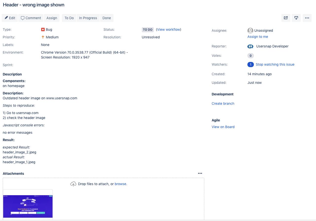 bug report template jira