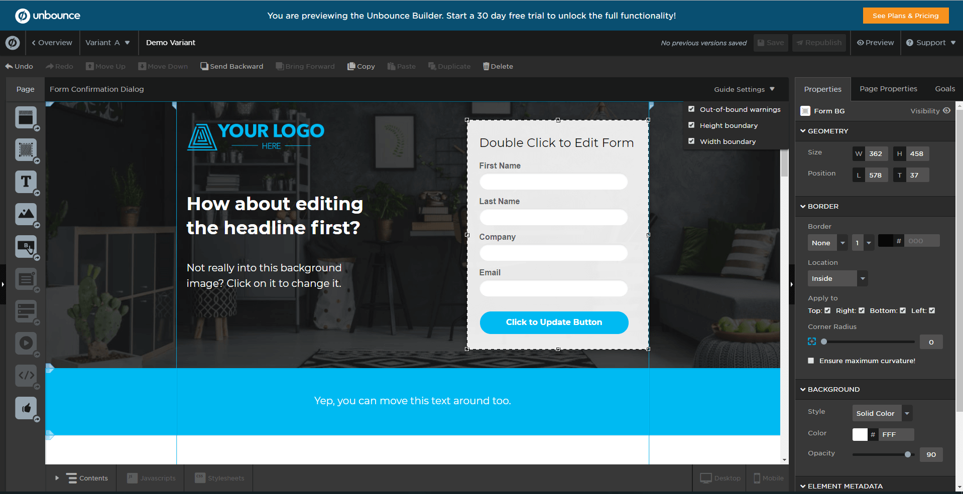 Unbounce - landing page tool