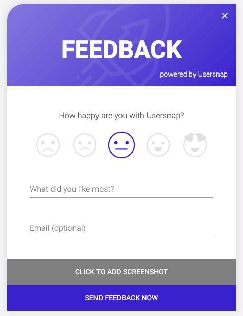 Usersnap customer feedback button