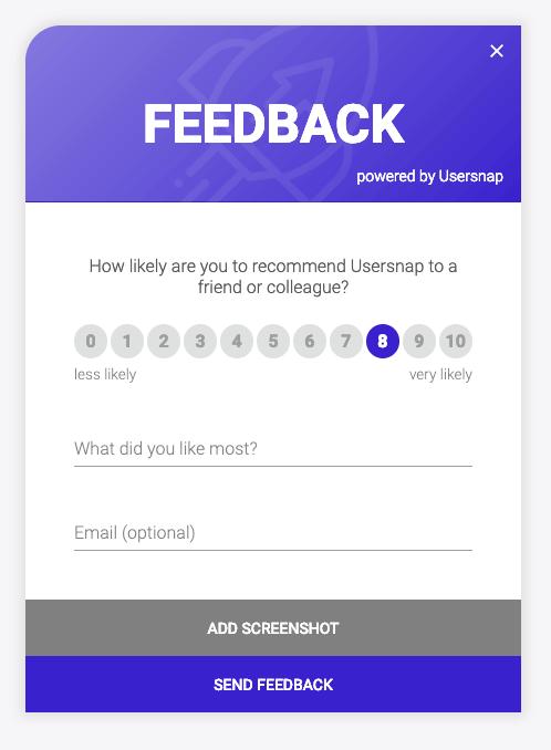 Usersnap NPS feedback widget