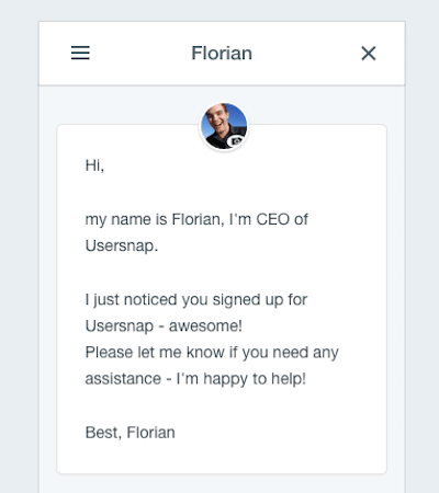 Customer Sign-up Confirming E-mail