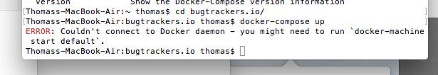 Docker für Mac Fehlermeldung