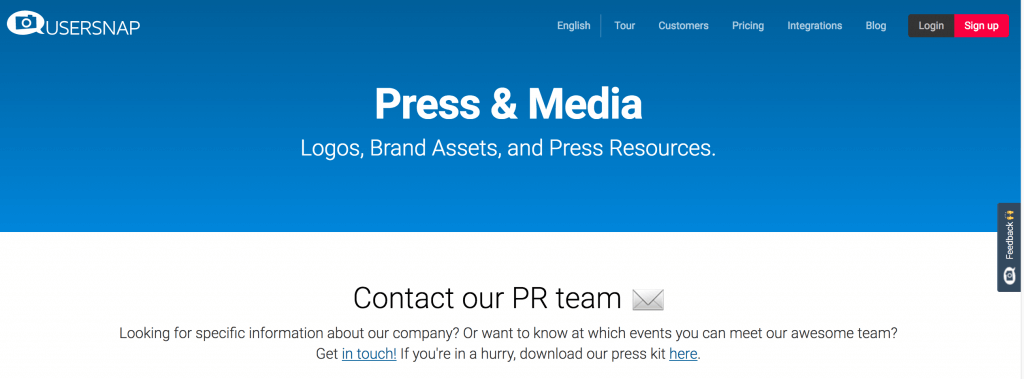 press page usersnap